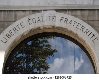 Paris/France - August 20 2016: Liberty, Equality, Fraternity, the motto of the French revolution on the wall of a Paris building