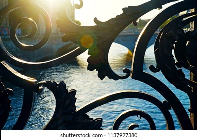 Paris/France - August 2016: detail of Notre-Dame bridge with sun flare.