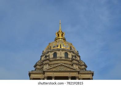 PARIS/FRANCE - DECEMBER, 2017: Outside view of the dome of Hôtel des Invalides, Paris/France.