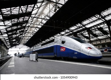 Paris,France Mar. 22,2018. French TGV trains sit in platform at Gare de Lyon railway station during a nationwide strike by French SNCF railway workers