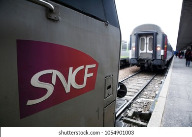 Paris,France Mar. 22,2018. French trains sit in platform at Gare de Bercy railway station during a nationwide strike by French SNCF railway workers