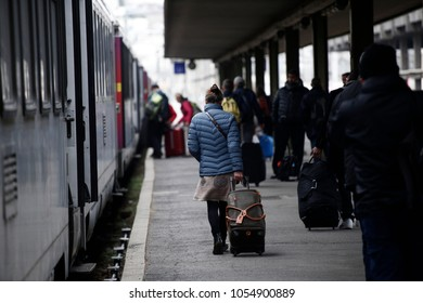 Paris,France Mar. 22,2018.People walk on a platform at Gare de Bercy railway station during a nationwide strike by French SNCF railway workers