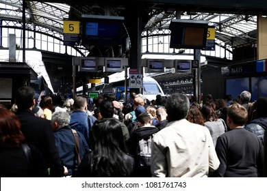 Paris,France May 1,2018.Passengers at Station of the East railway station during a nationwide strike by French SNCF railway workers