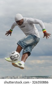 Paris,France - May 29, 2014 - Footballer freestyler, Iya Traore from Guinea, in Sacre 