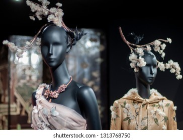"Paris/France - November 29, 2017: A closer look at Maria G.Chiuri's designs, displayed among other Asian-inspired pieces in ""Christian Dior, Couturier du Rêve"" exhibition in Musée des Arts Décoratifs."