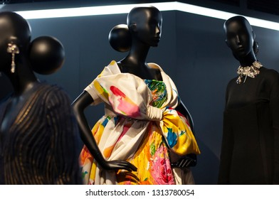 """Paris/France - November 29, 2017: A closer look at Gianfranco Ferré's creations for the house of Dior displayed in """"Christian Dior, Couturier du Rêve"""" exhibition in Musée des Arts Décoratifs."""