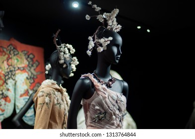 "Paris/France - November 29, 2017: Maria G.Chiuri's creation for Dior SS'17, displayed among other Asian-inspired pieces in ""Christian Dior, Couturier du Rêve"" exhibition in Musée des Arts Décoratifs."