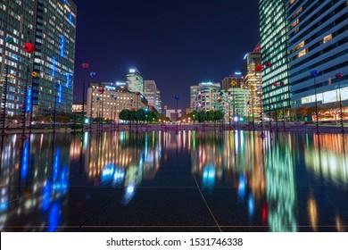 Paris,France - October 14 2019 - View of a La defense district business in Paris at night.