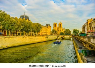 PARIS/FRANCE - SEPTEMBER 26: Walking Over the Seine on September 26, 2017 in Paris, France.