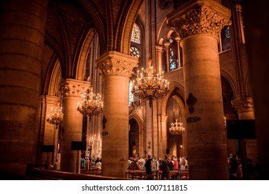 Paris/France - september 9, 2017: Notre Dame de Paris, interior