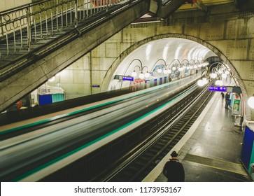 Paris,France-02.06.2018:Paris Metro station . Paris Metro is the 2nd largest underground system worldwide.Paris underground.