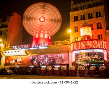 Paris,France-02.06.2018:The famous cabaret Moulin Rouge and windmill located close to Montmartre in the district of Pigalle. Paris.