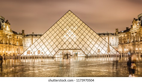 Paris,France-03.16.2018: Night View of famous Louvre Museum with Louvre Pyramid. Louvre Museum is one of the largest and most visited museums worldwide.