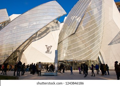 Paris,France-12 28 2014:The building of the Louis Vuitton Foundation,opened in 2014 and designed by F. Gehry is an art museum and cultural center sponsored by the group LVMH and its subsidiaries.