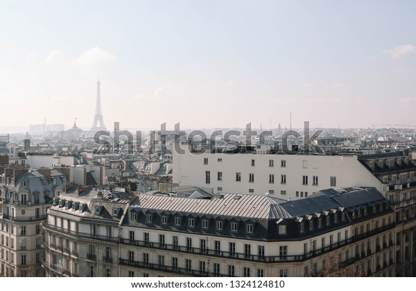 PARIS/FRANCE-16 FEBRUARY 2017: View on Paris from top of Printemps gallery. Paris bird's-eye view. Paris from above.