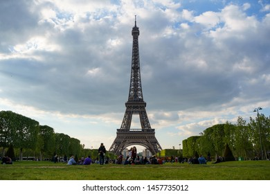 PARIS,FRANCE-29 APRIL,2019: Beautiful Eiffel Tower,main symbol of Paris and France.Famous tourist landmark un French Republic