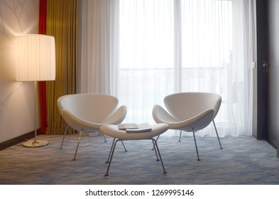 Paris/France_18 Dec 2018: Beautiful modern living room with dim lighting at Paris Hotel.