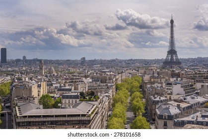 PARIS,FRANCE-CIRCA APRIL 2015: Paris city bird-eye view