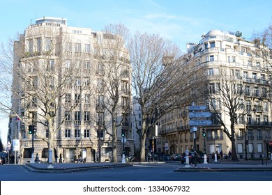 PARIS-FRANCE-FEB 24, 2019: The architecture of Paris has preserved the look and feel of many of its historic neighborhoods and streets, even though it possesses a modern infrastructure.