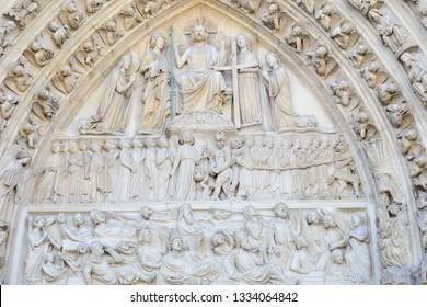 PARIS-FRANCE-FEB 24, 2019: Notre Dame Cathedral Facade Close up detail at Paris, France.