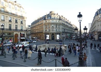 PARIS-FRANCE-FEB 25, 2019: 38, Avenue de l'Opéra - The building includes the Royal Air Maroc Paris ticket office, a branch of BNP Paribas, and offices of Berlitz Consulting (Berlitz Opéra)