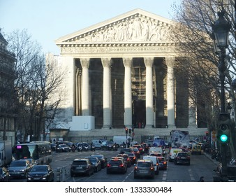 PARIS-FRANCE-FEB 25, 2019: The Madeleine Church was designed in its present form as a temple to the glory of Napoleon's army.