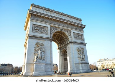 PARIS-FRANCE-JAN 19, 2017:The Arc de Triomphe is one of the most famous monuments in Paris, standing at the western end of the Champs Elysees