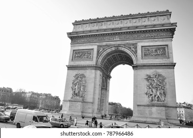 PARIS-FRANCE-JANUARY 19, 2017:Arc de Triomphe is one of the most famous monuments in Paris, standing at the western end of the Champs-�lysées at the center of Place Charles de Gaulle