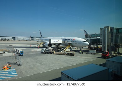 Paris,France,May 2018:  airplane airline Air France stands at the airport ready for boarding passengers.