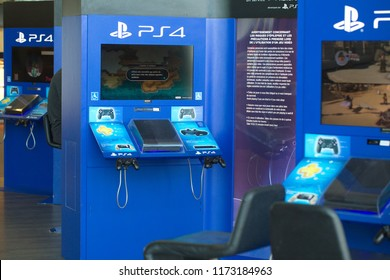 Paris,France,May 2018: screens of games console  in interior of airport passenger waiting room