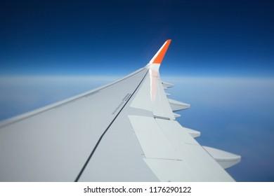Paris,France,May 2018:wing airplane blue sky