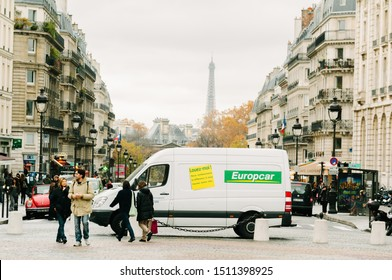 PARIS,FRANCE-NOV.17:  van of europcar company is parke in front of pantheon in paris. Europcar is one of the biggest company for rental of car and van