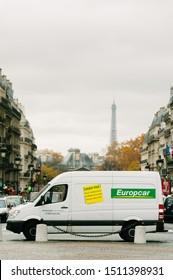 PARIS,FRANCE-NOV.17:  van of europcar company is parke in front of pantheon in paris. Europcar is one of the biggest company for rental of car and van
