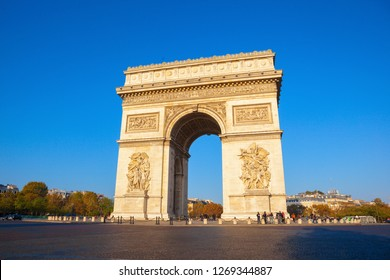PARIS/FRANCE-OCT 21: One of the famous sights in Paris- triumphal arch on Oct 21 2018 in Paris, France.