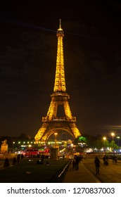 PARIS/FRANCE-OCT 25: One of the famous sights in Paris- Eiffel Tower on Oct 25 2018 in Paris, France.