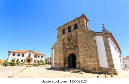 Parish church, City Hall and Pillory in the main square of the town of Vila Nova de Foz Coa, Portugal