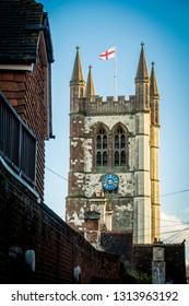 Parish church in Farnham in Surrey with England flag