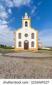 The parish church of Flor da Rosa where the knight Alvaro Goncalves Pereira was temporarily buried. Crato, Alto Alentejo, Portugal