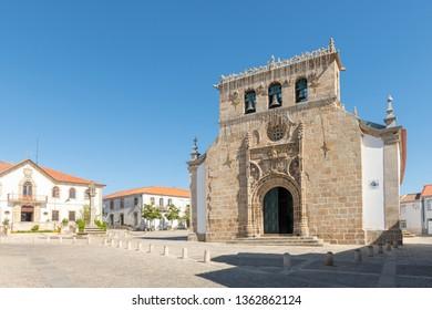 Parish church in the main square of the town of Vila Nova de Foz Coa, Portugal