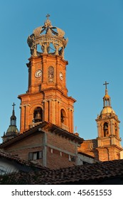 Parish Church of Our Lady of Guadalupe in sunset light, Puerto Vallarta, Mexico