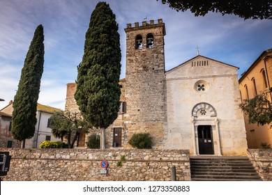 Parish church of San Giusto in the medieval village of Suvereto, province of Livorno, Tuscany, Italy