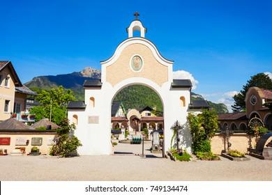 Parish Church of St. Aegydius and cemetery (Pfarrkirche hl. Agydius Sankt Gilgen und Friedhof) in St Gilgen, Salzkammergut region of Austria