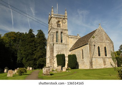 Parish Church of St. John the Baptist, Coln St. Aldwyns, in the Cotswolds, Gloucestershire, England, UK