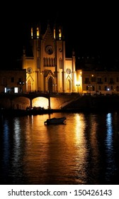 Parish church of St Joseph on night time with nice reflection on a water, Sliema, Malta, night light, Sliema church, maltese city on the night, catholic church in Malta