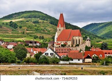 Parish church of Weissenkirchen in der Wachau, a town in the district of Krems-Land in the Austrian state of Lower Austria, Wachau Valley, Austria (Osterreich)