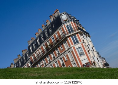 A Parisian building taken from a funny angle in Montmartre, Paris (France). Also known as the sinking house.