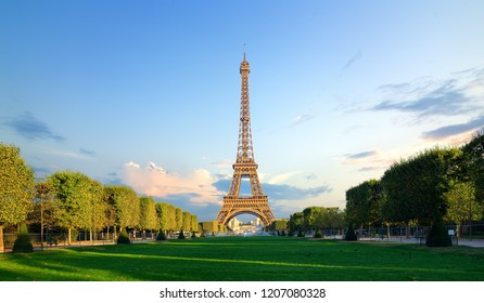 Parisian Eiffel Tower and Champs de Mars in the morning, France