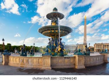Parisian Fountain de Mers and cloudy sky at summer