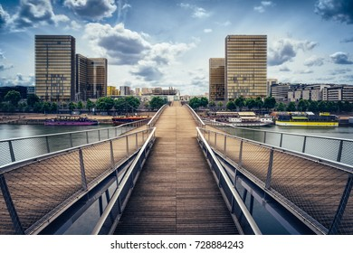 Parisian geometries, Skyscrapers and bridge at Bercy quarter Paris