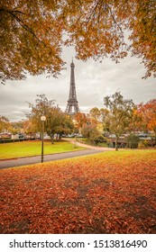 Parisian landscape in Autumn with the Eiffel tower in the background in Paris France